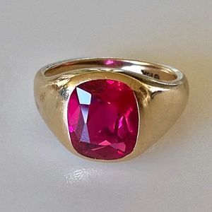 Art Deco 10k Mens 2 ct Ruby Pinky Ring 7g